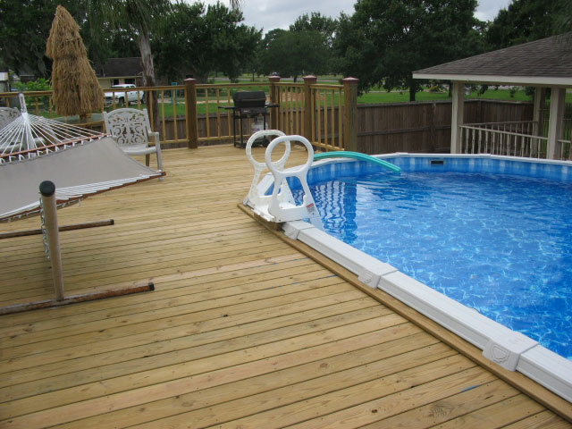Houston above ground pool decks for Above ground pool decks houston tx